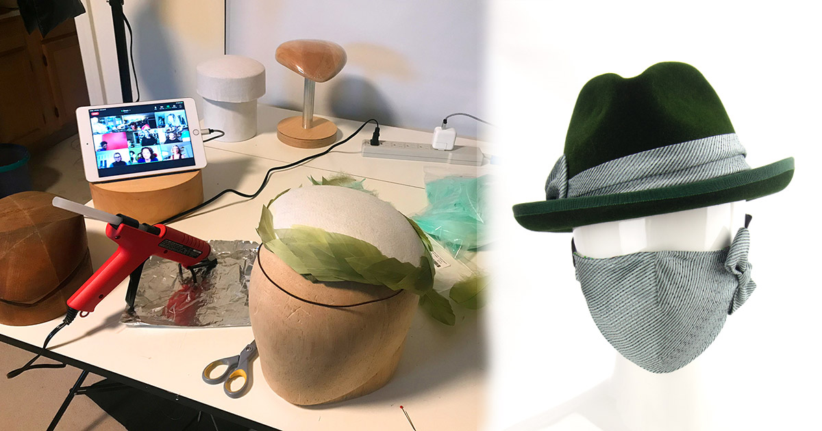 Studio setup with Zoom class and a green homburg with matching mask.
