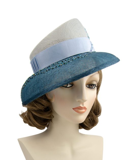 Beaded blue straw Kentucky Derby hat.