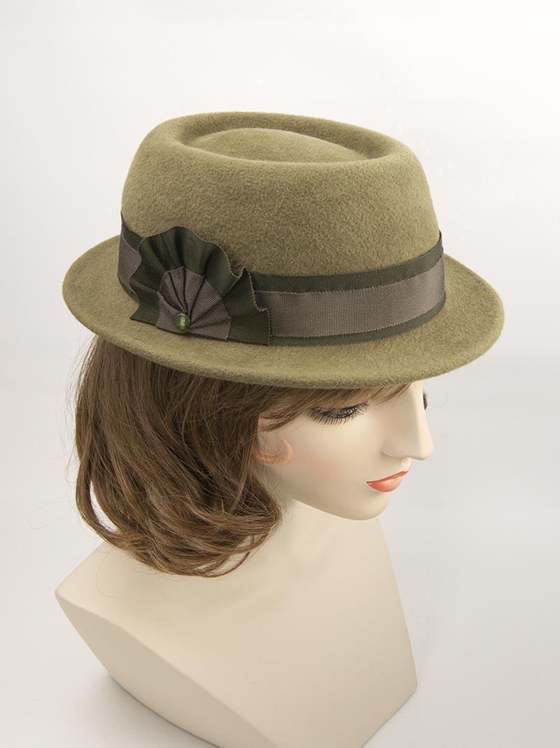 Bespoke olive green porkpie hat.