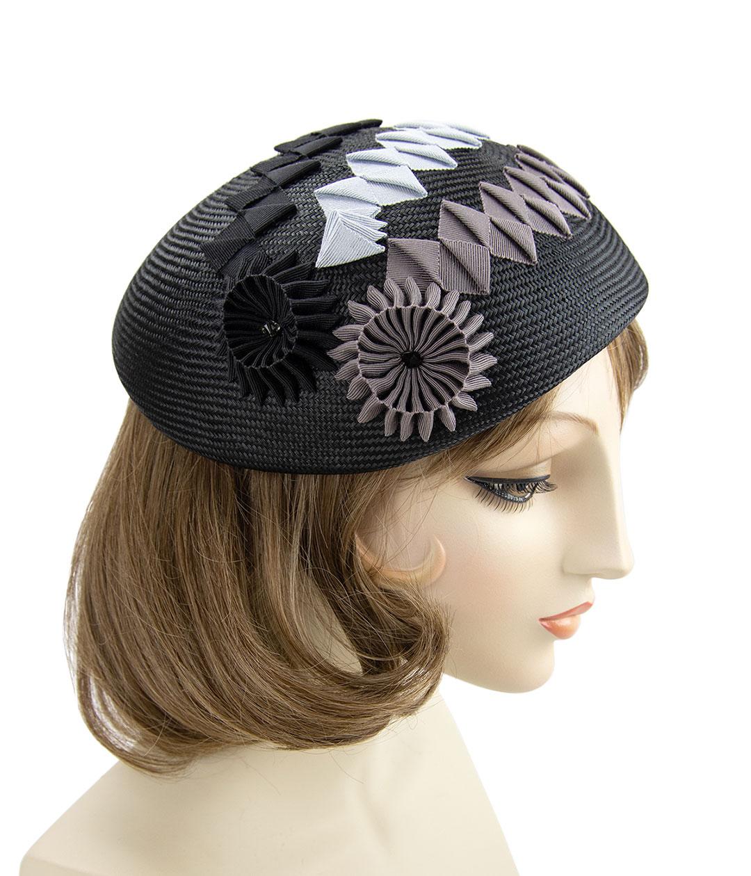 Black straw beret. Hand-blocked parisisal with ribbon cockades.