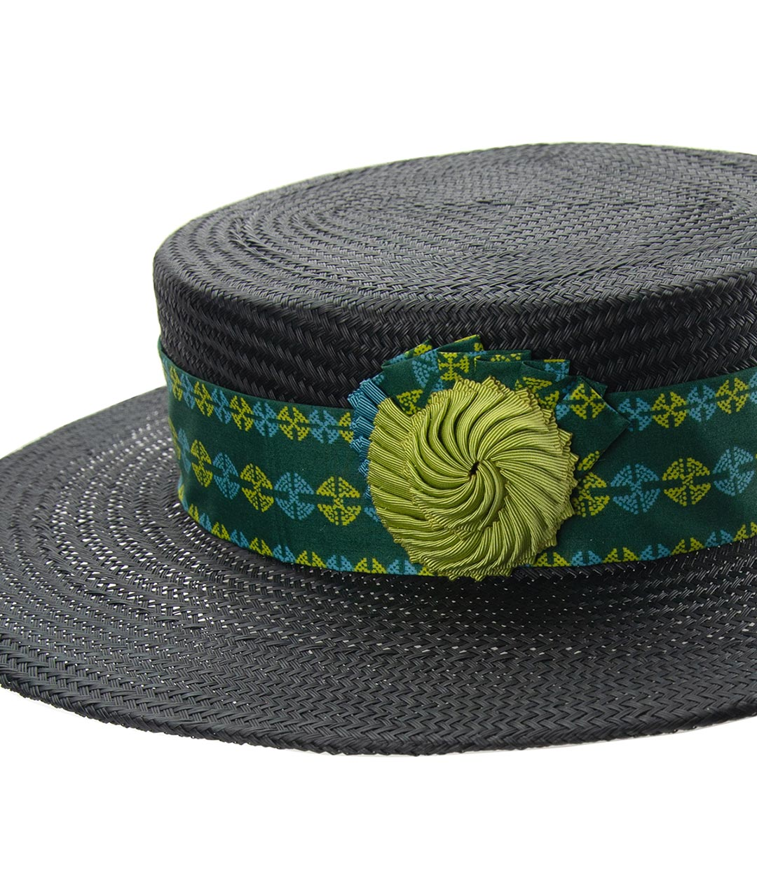 Black straw boater with nautilus cockade