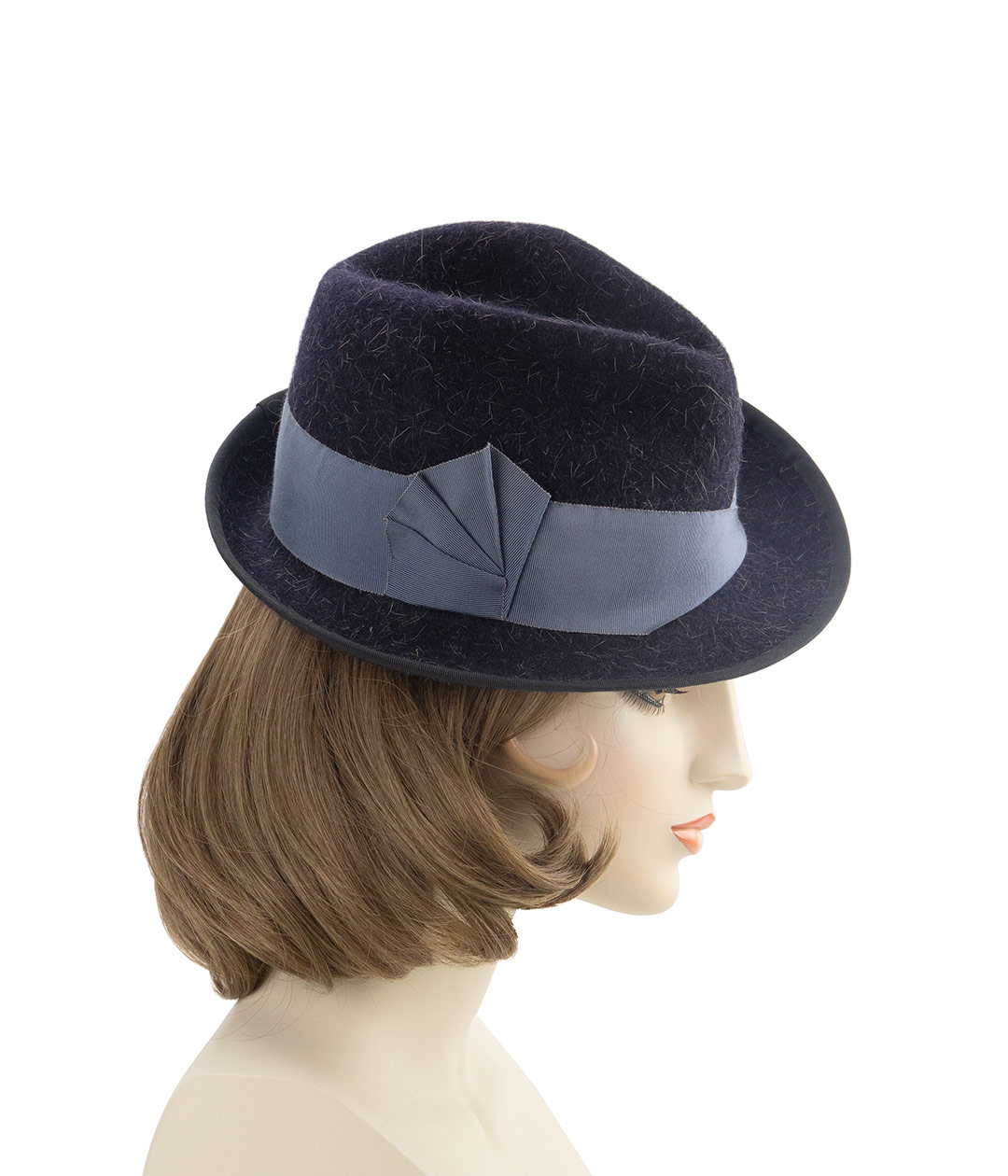Right side view of black tilt fedora on a mannequin head.