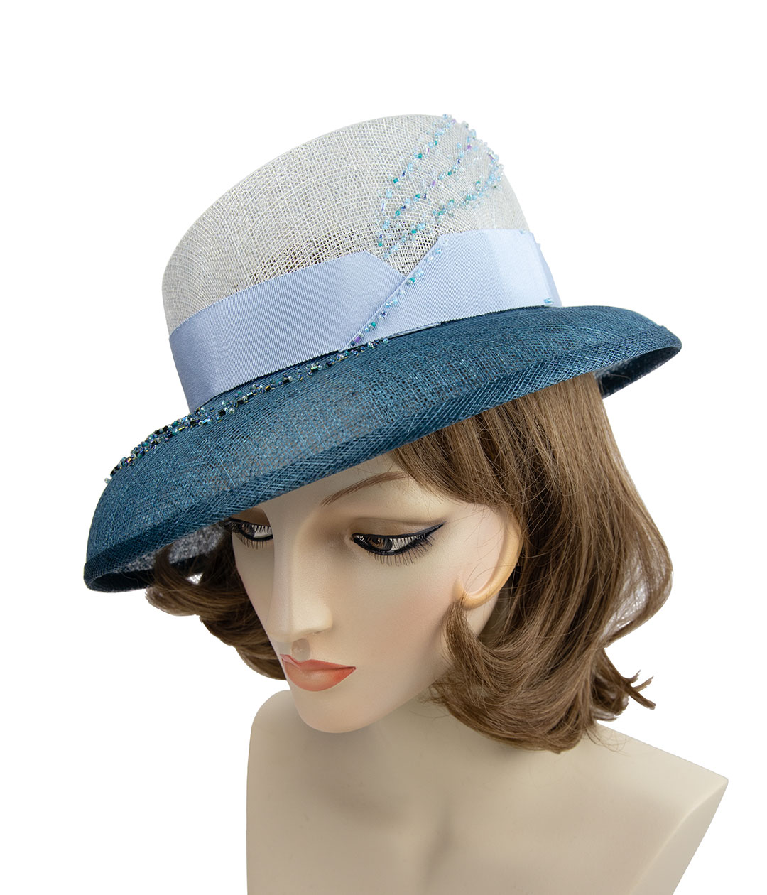 Heavily beaded blue straw hat.
