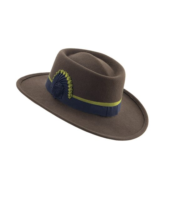 Elegant Western hat. Wide-brim brown cowboy hat with navy and green nautilus cockade.