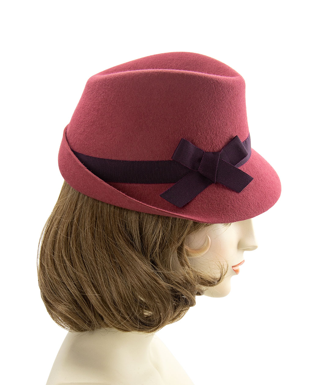 Right side view of vintage-style hat in cinnamon felt with burgundy band and bow.