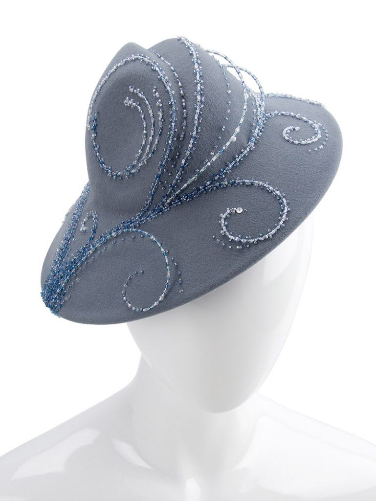 Ocean-motif, hand-beaded hat for millinery competition.