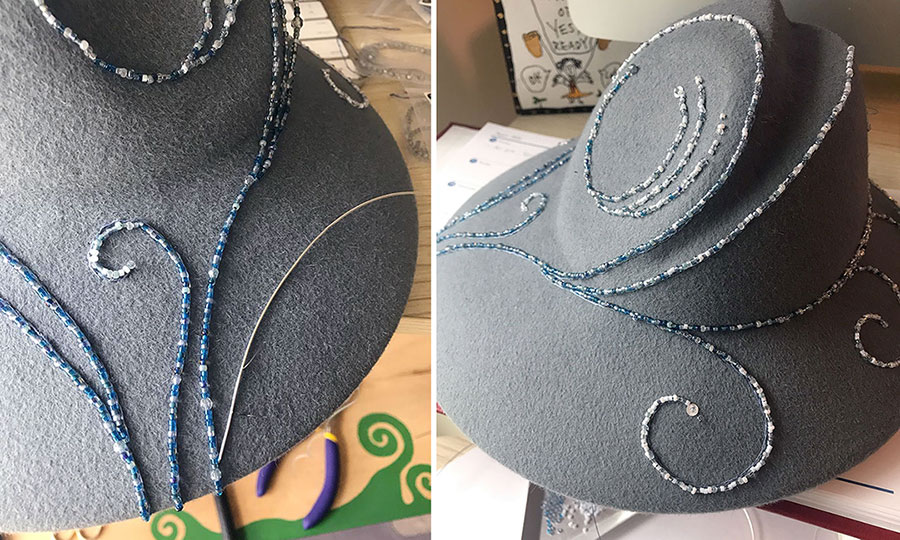 Two images of a hand-beaded hat before being completed.