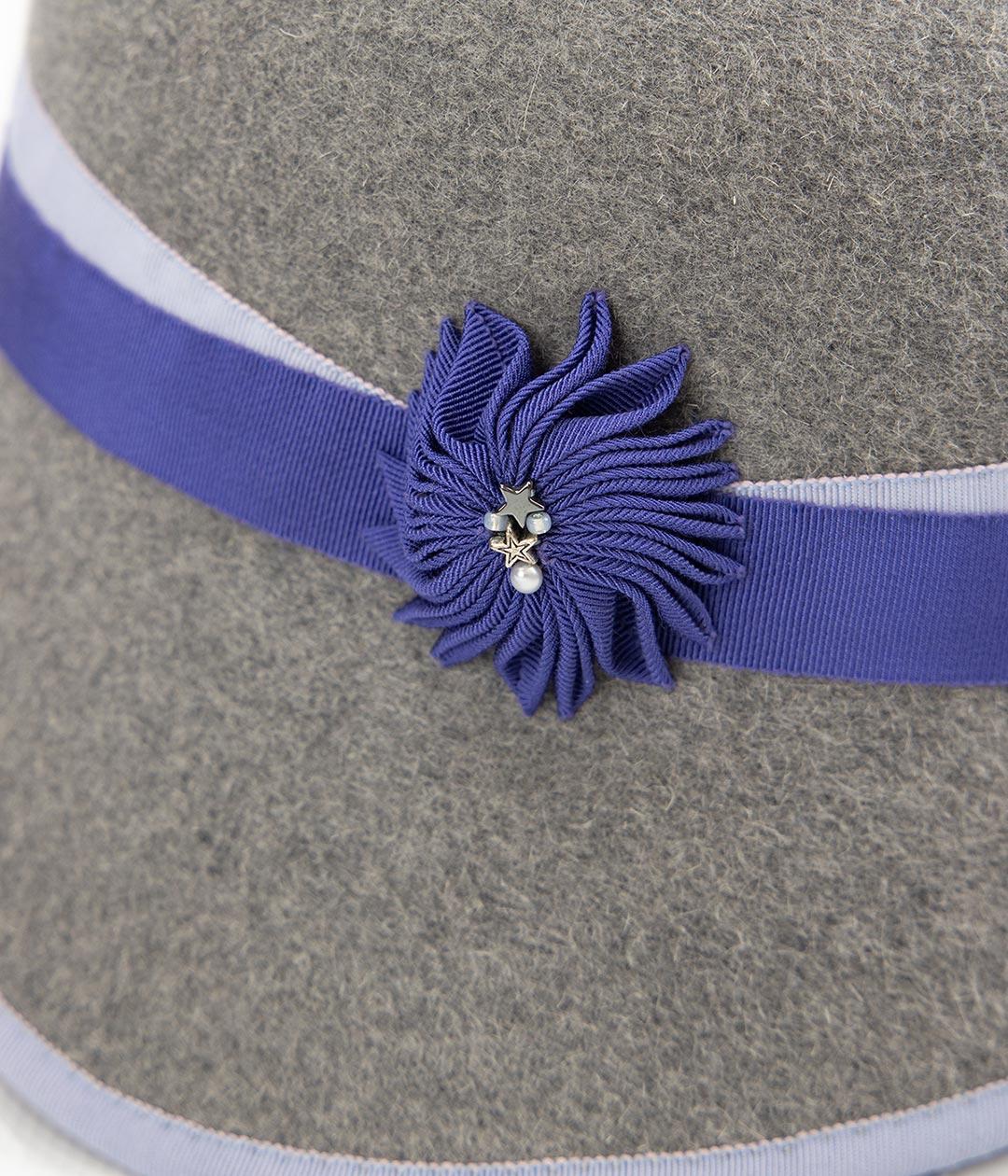 Detail of blue ribbon cockade on gray felt cloche hat.