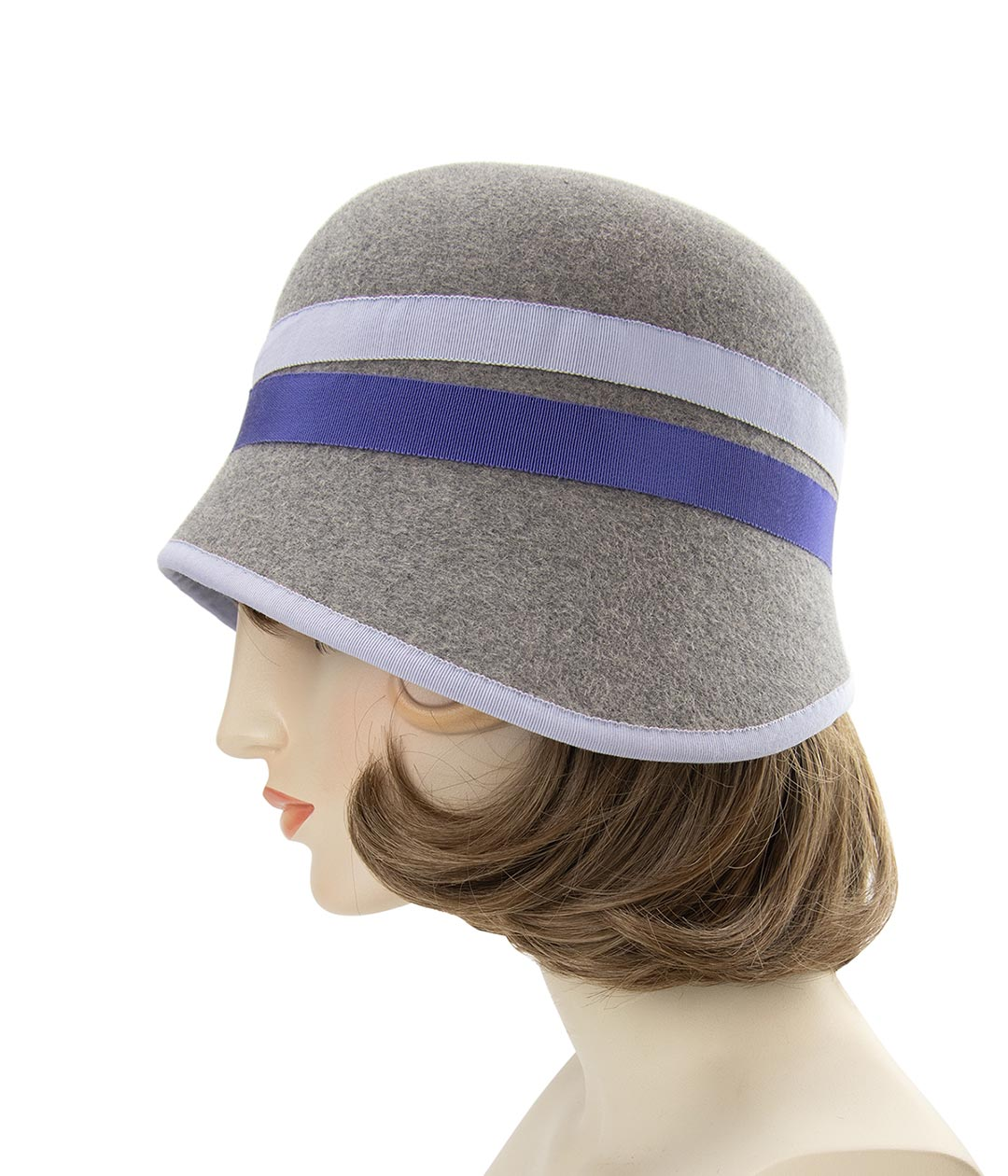 Left side view of heather gray felt cloche hat with blue ribbons