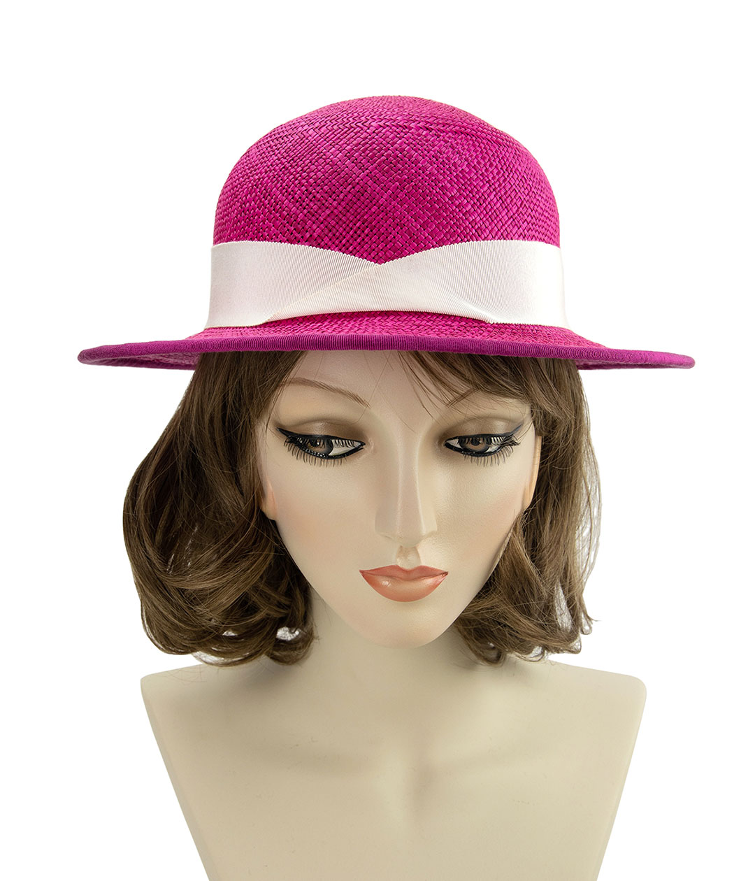 front view of hot pink straw hat on mannequin head