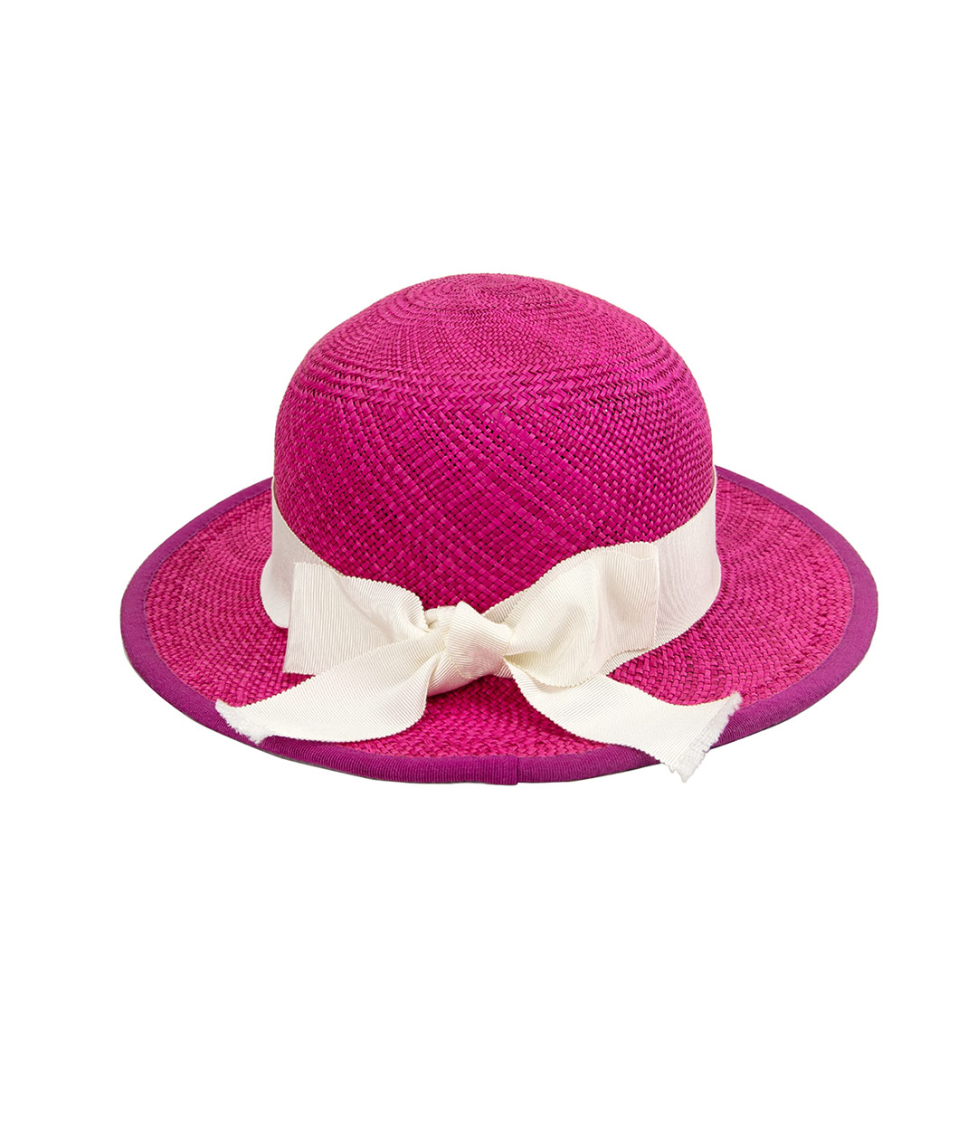 back view of hot pink straw hat with white bow