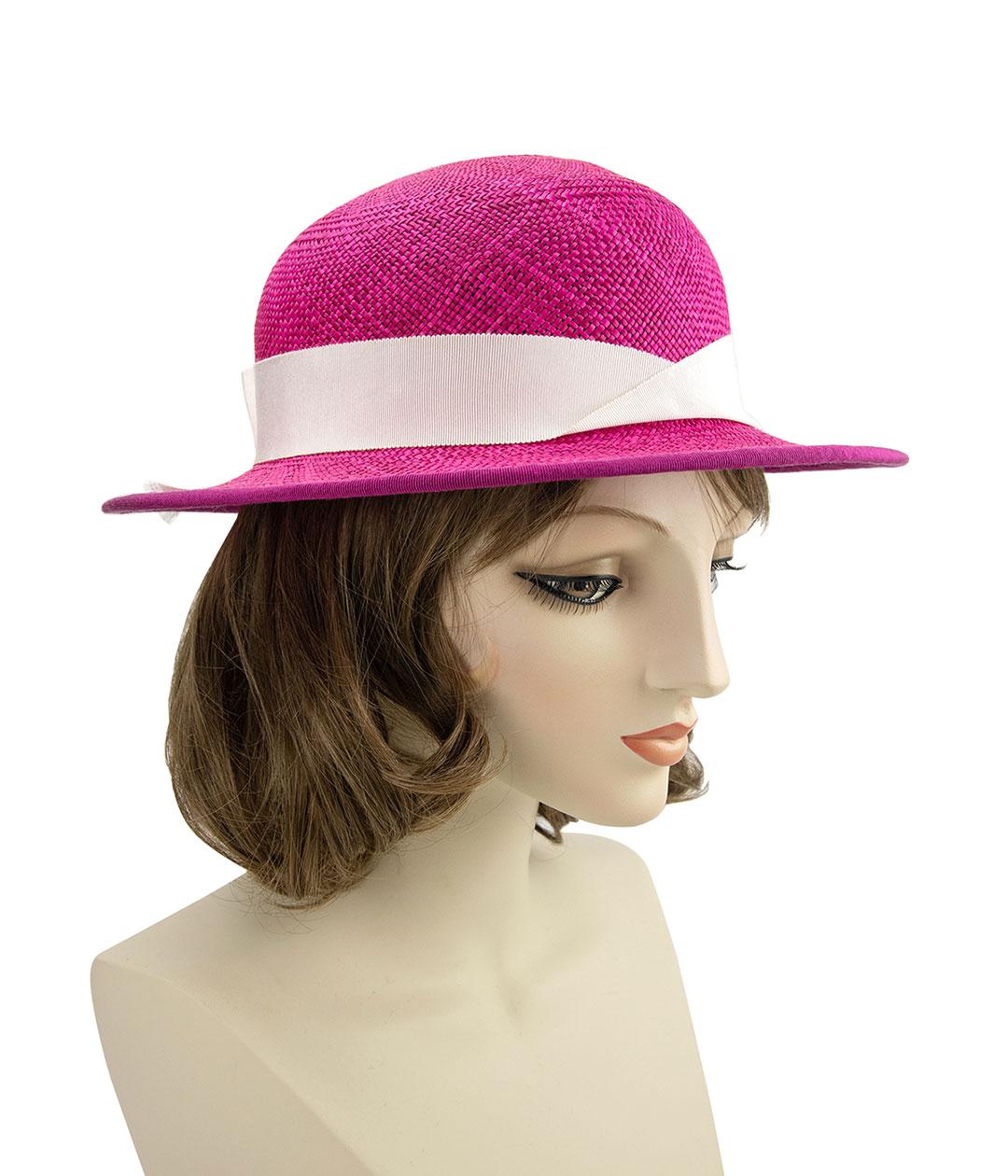 hot pink Panama straw hat