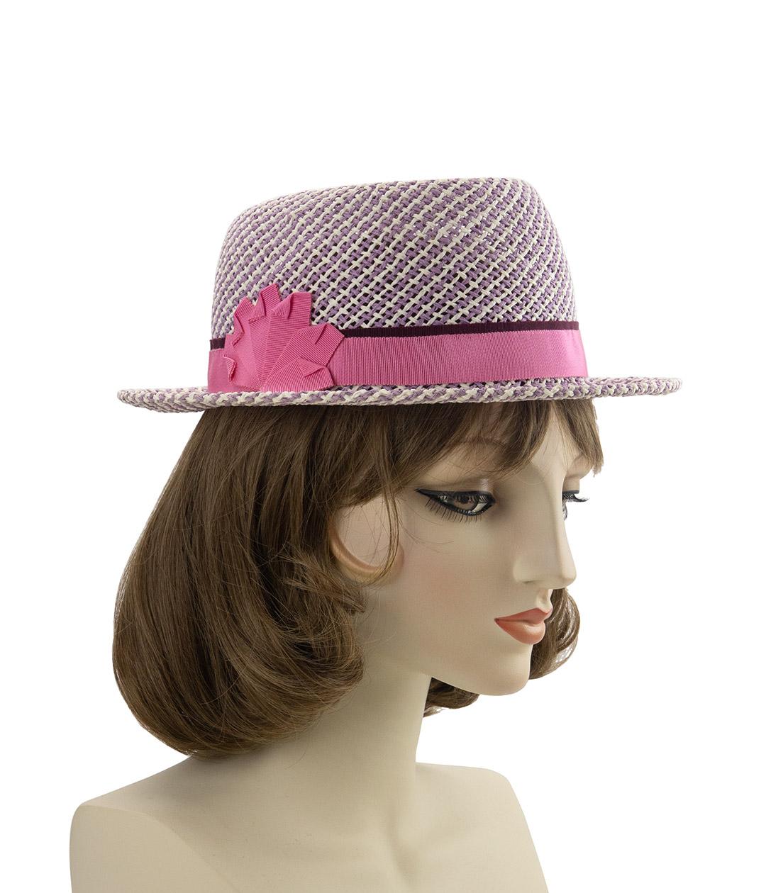 light purple straw hat with pink ribbon trim