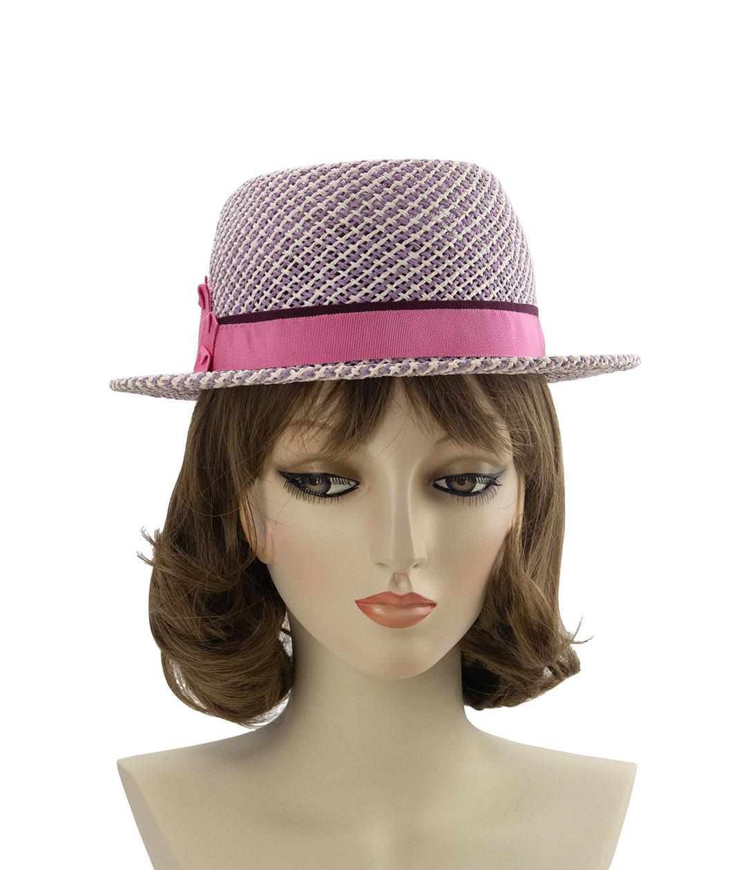 light purple straw porkpie hat