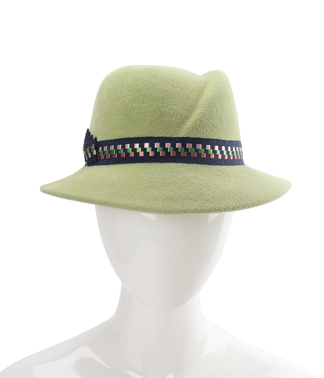 Front view of light sage green women's fedora