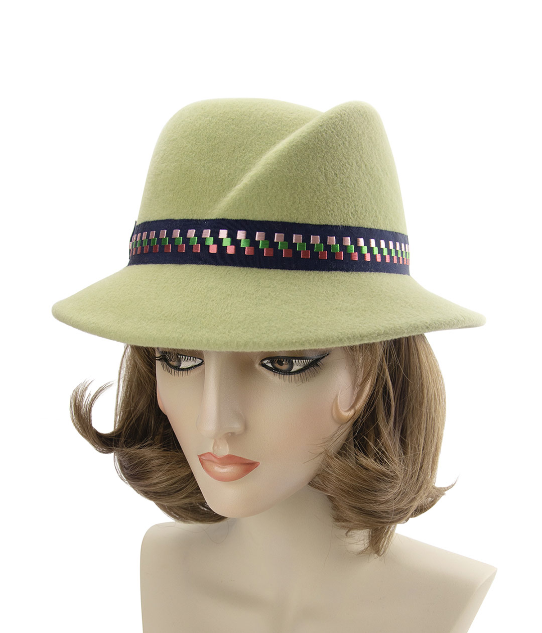 Left side view of light green fedora with angled crown.