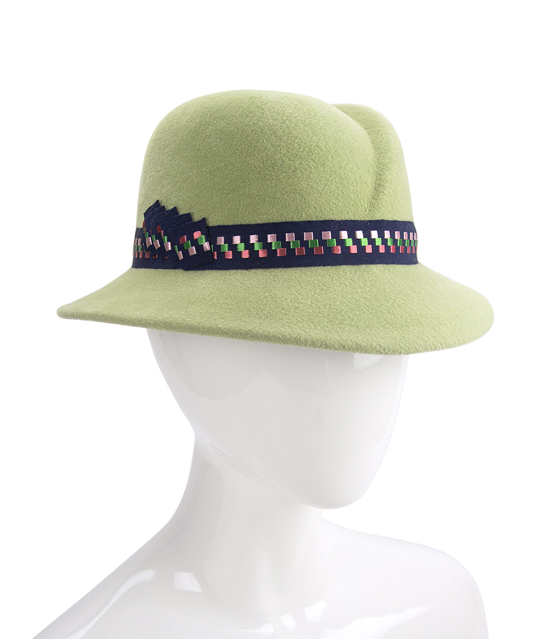 Light green fedora with asymmetrical crown.