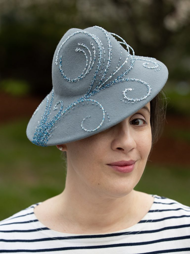 Kristin Silverman models her ocean-motif beaded hat.