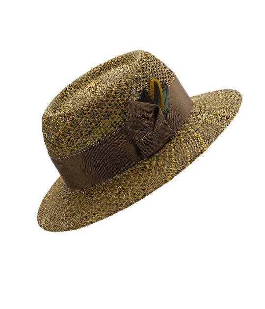 Olive green porkpie hat in Panama straw