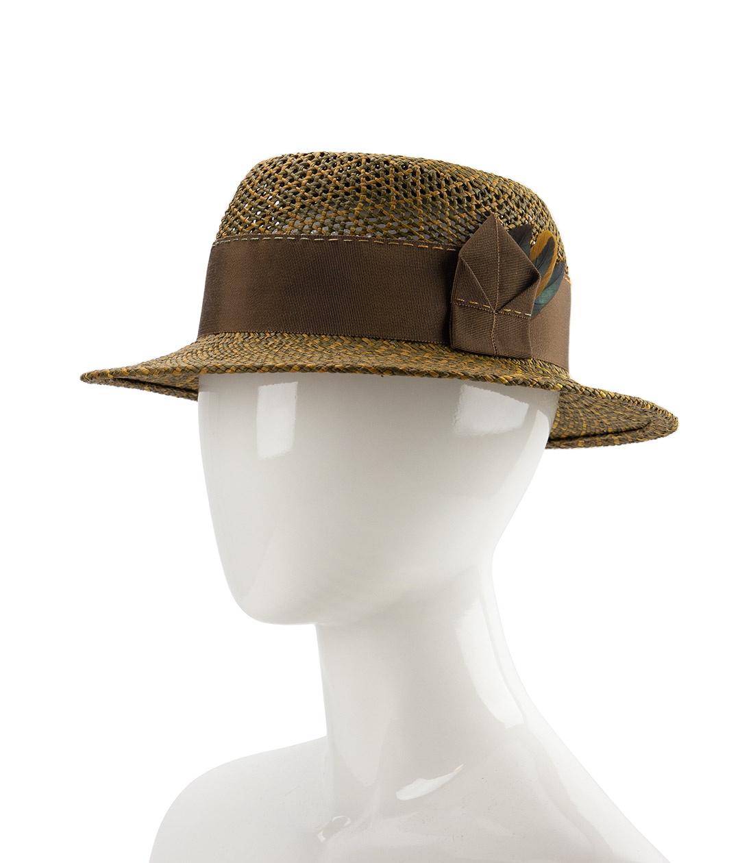 Olive green and mustard Panama straw hat.