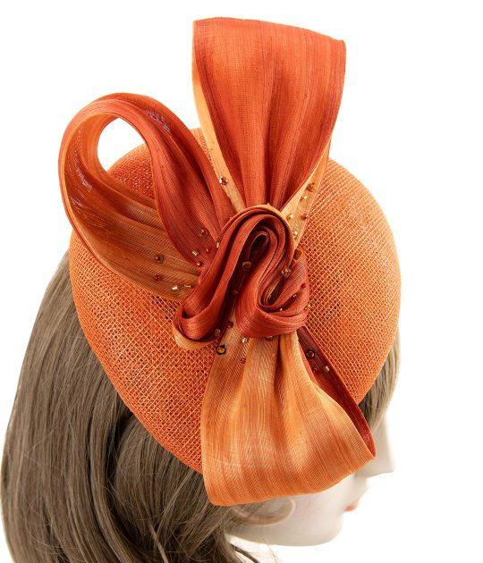 Orange beret fascinator in sinamay straw with silk abaca bow