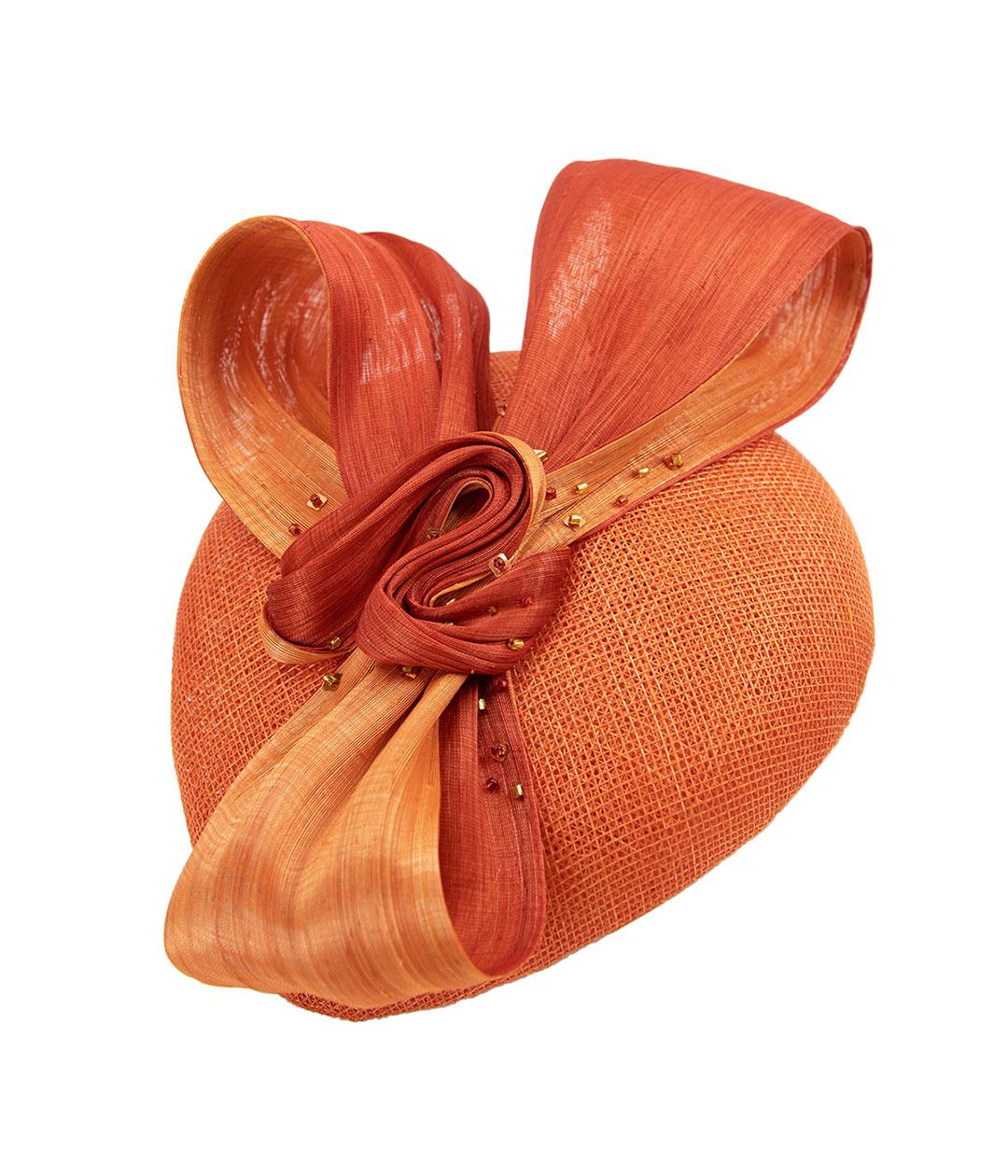 Detail view of perching beret in orange sinamay and silk abaca