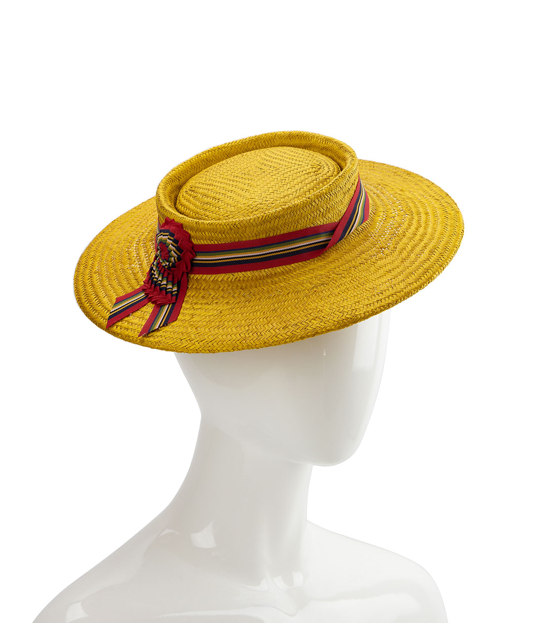 Yellow straw perching boater hat.