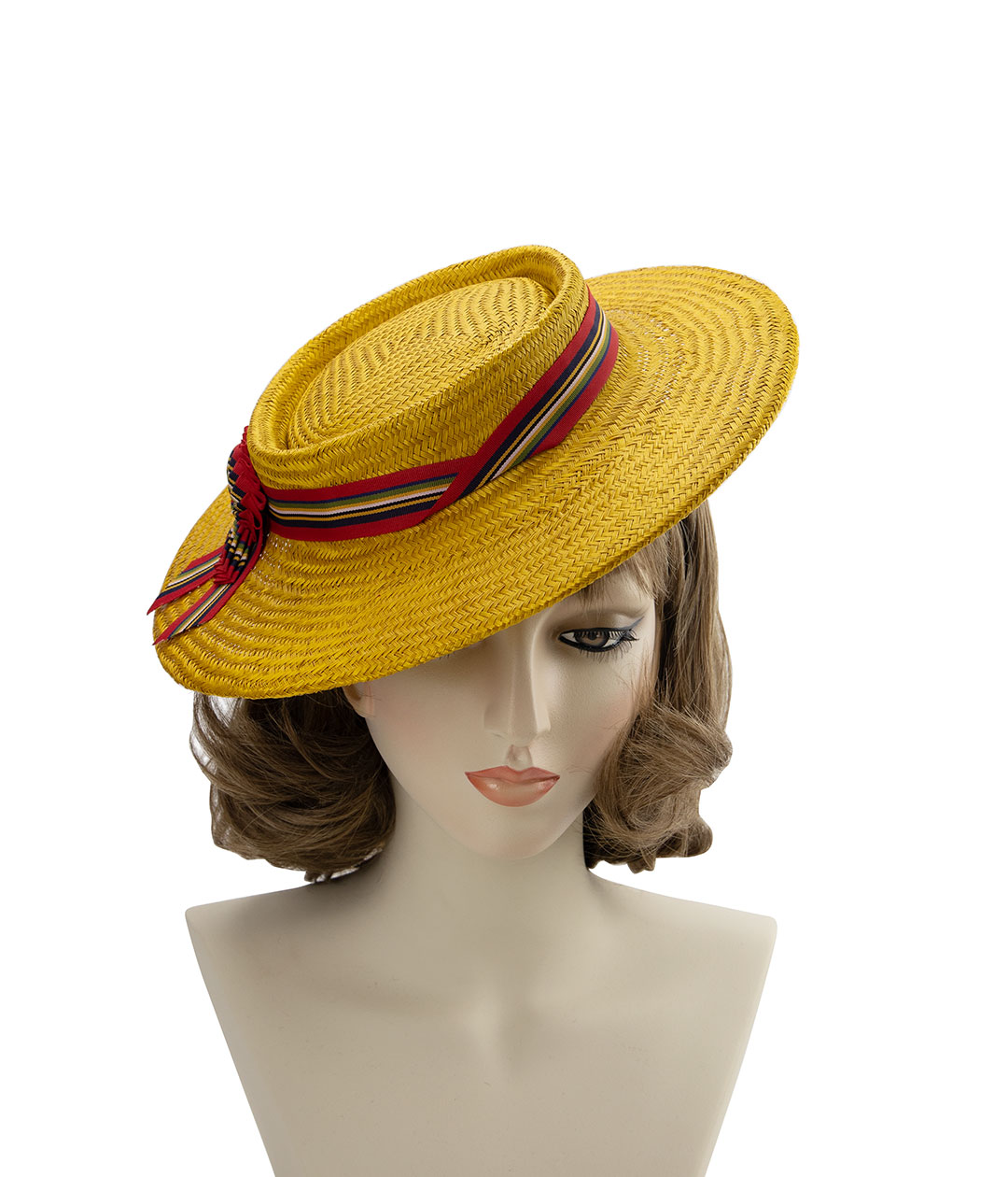 Vintage-style perching straw boater hat, displayed on a mannequin head.