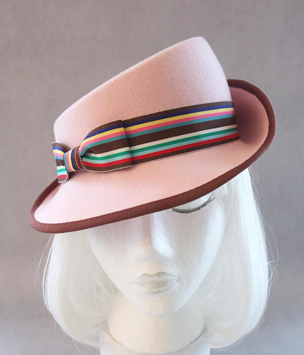 pink 1940s fedora