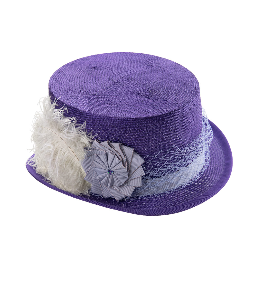 Purple straw top hat with cockade, veiling and ostrich feathers.