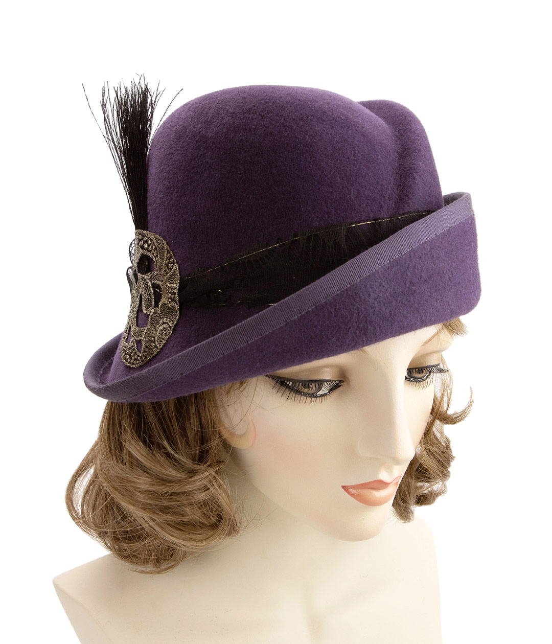 Eggplant purple cloche with gold vintage trim