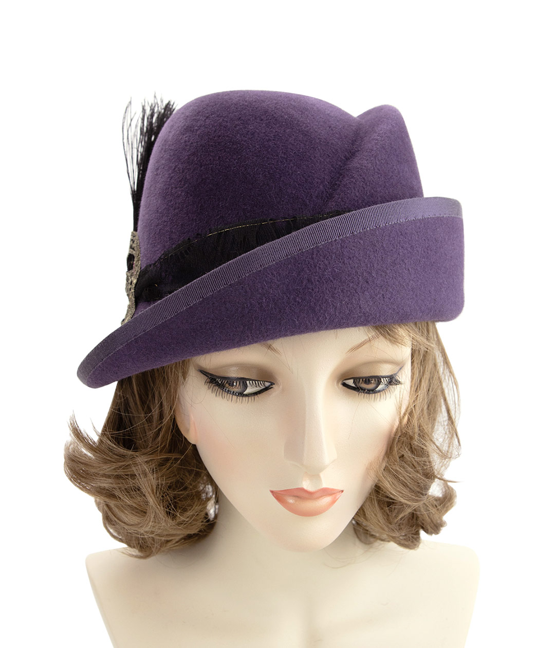 Front view of purple flapper cloche with asymmetric upturned brim