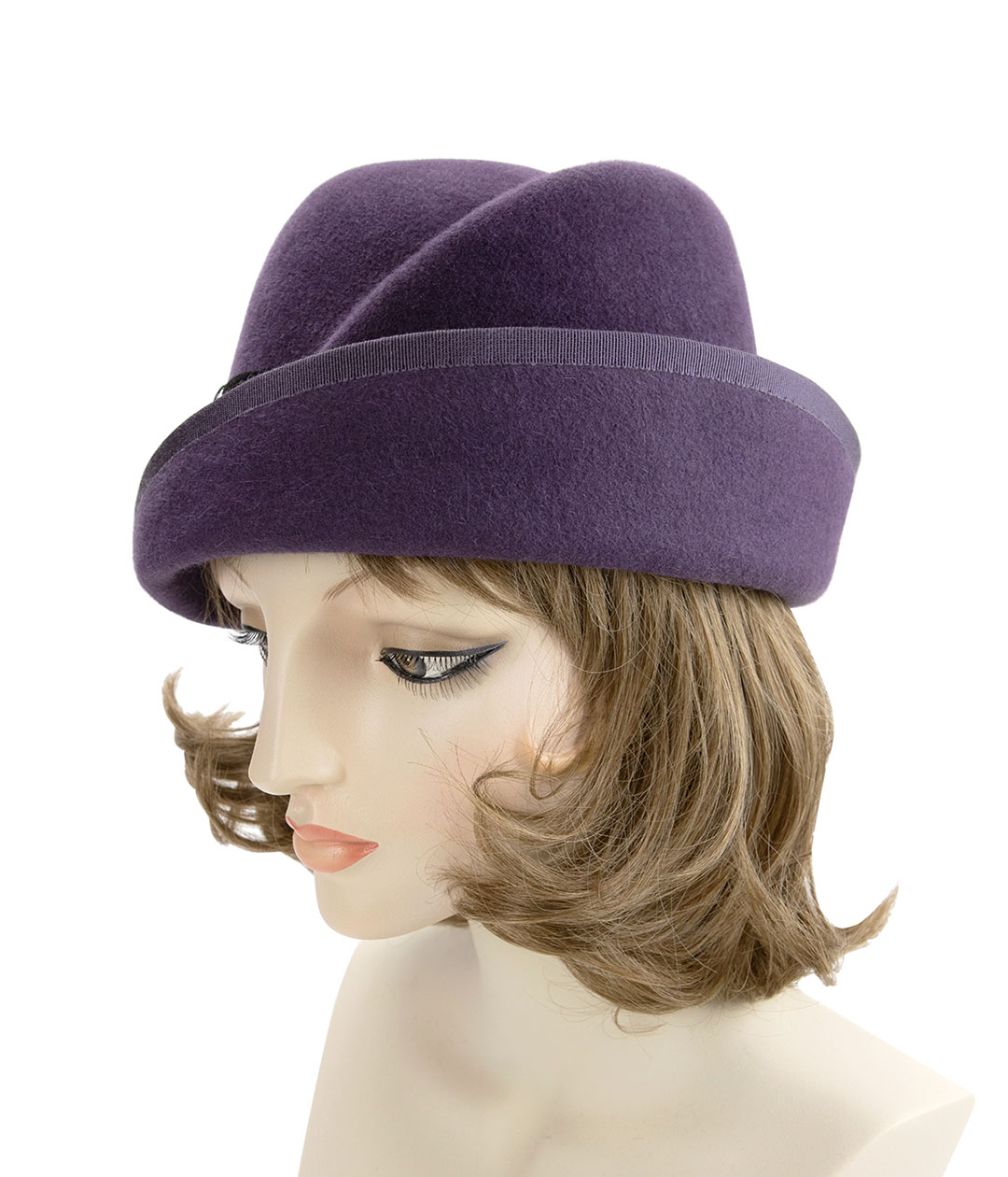Left side view of 1920s style purple cloche