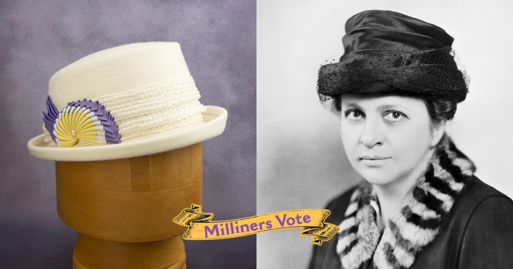 Frances Perkins wearing a hat, paired with an image of a white hat created in her honor.