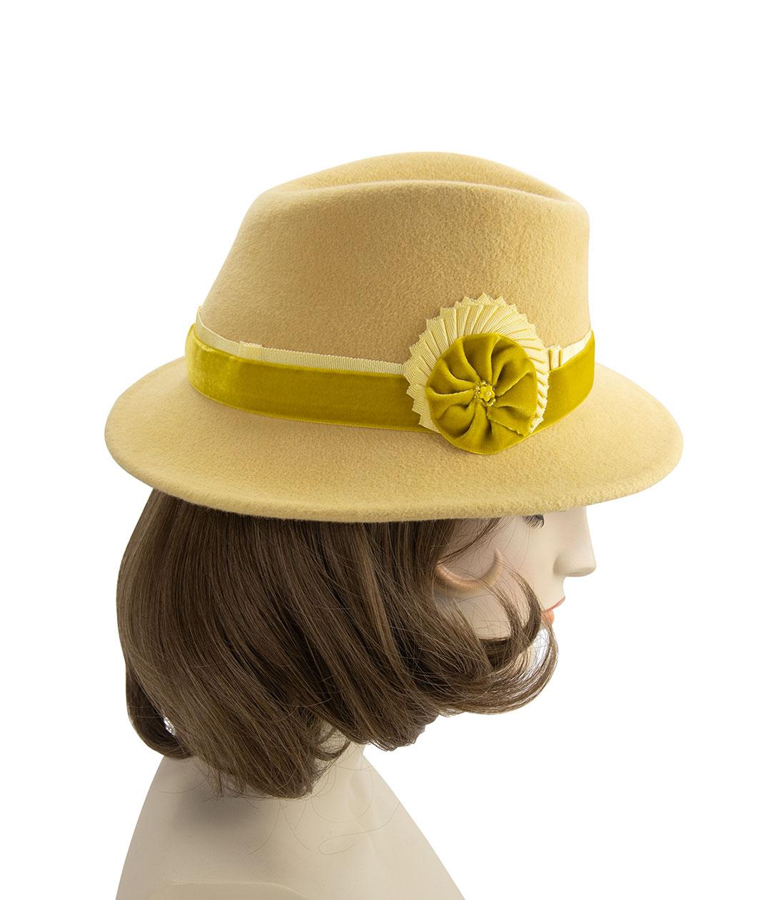 Yellow 1940s style fedora